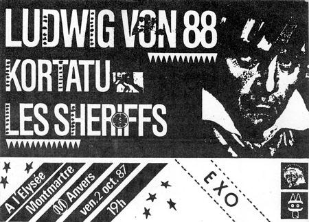 """2 octobre 1987 Les Sheriff, Kortatu, Ludwig Von 88 à Paris """"Elysée Montmartre"""""""