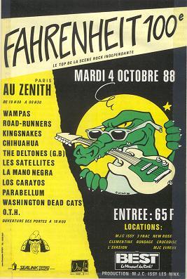 """4 octobre 1988 Parabellum, Les Wampas, KIngsnakes, Los Carayos, Mano Negra, Roadrunners, Satelittes, The Deltones, Washington Dead Cats, Chihuahua, OTH à Paris """"Le Zenith"""""""