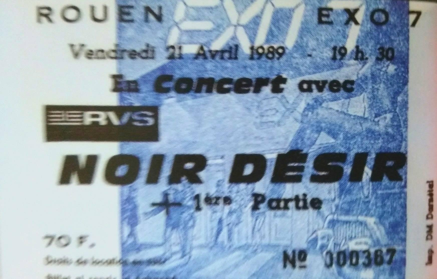 """21 avril 1989 Noir Desir à Petit Quevilly """"l'Exo 7"""""""
