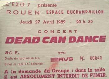 """27 avril 1989 Dead Can Dance à Rouen """"Espace Duchamp Villon"""""""