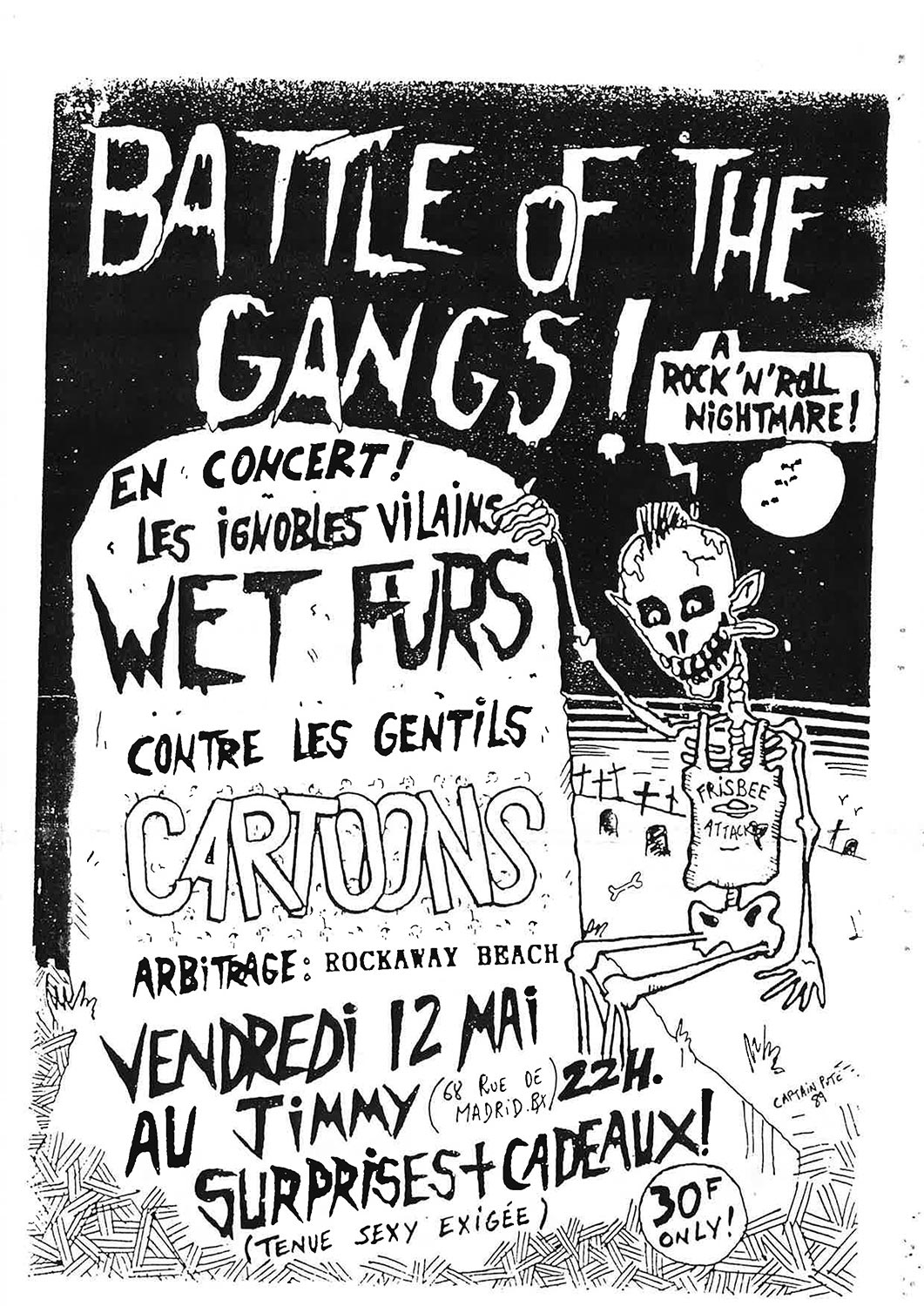 "12 mai 1989 Wet Furs, Cartoons à Bordeaux ""le Jimmy"""