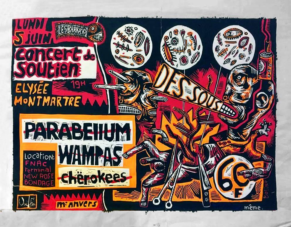 """5 juin 1989 Parabellum, Cherokees, Les Wampas à Paris """"Elysée Montmartre"""""""