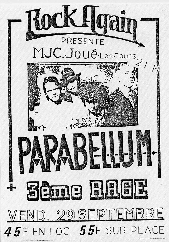 """29 Septembre 1989 3ème Rage, Parabellum à Joué les Tours """"MJC"""""""