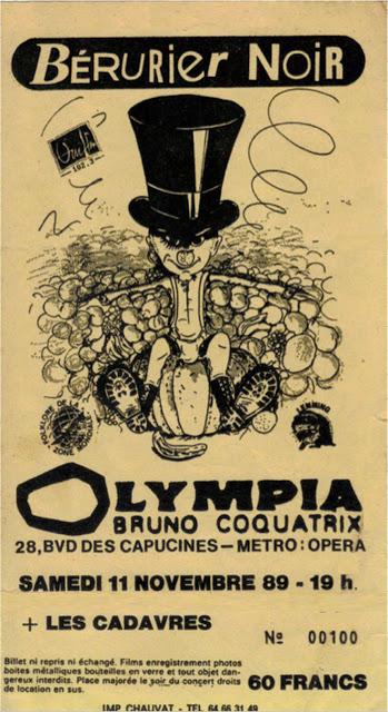 """11 novembre 1989 Les Cadavres, Berurier Noir à Paris """"Olympia"""""""