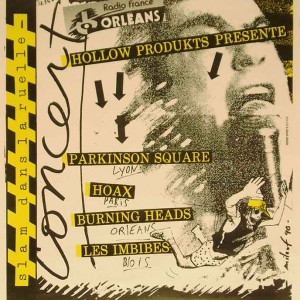 """4 mars 1990 les Imbibés, Burning Heads, Hoax, Parkinson Square à Saint Jean de la Ruelle """"Salle des Fêtes"""""""