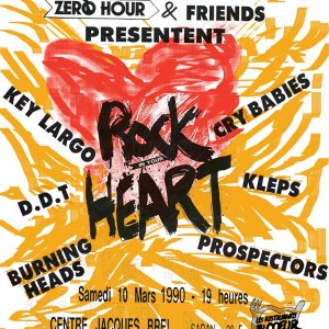 "10 mars 1990 Les Kleps, DDT, Key Largo, Burning Heads, Cry Babies, Prospectors à Saran ""Centre Jacques Brel"""
