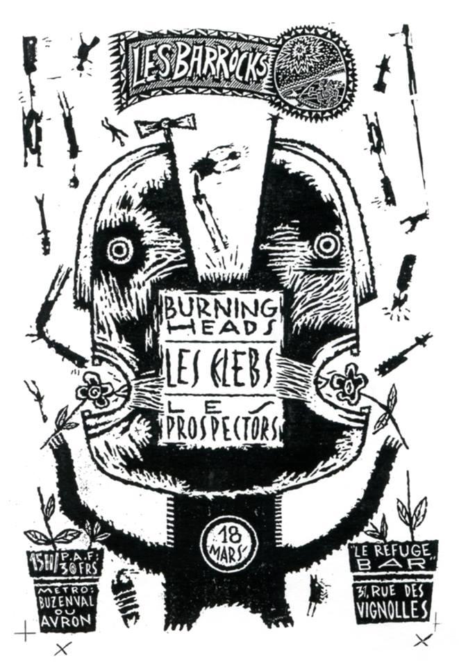 """18 mars 1990 Prospectors, Burning Heads, les Kleps à Paris """"Refuge"""""""