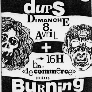 "8 avril 1990 Scratching Dups, Burning Heads à Orléans ""Bar du Commerce"""
