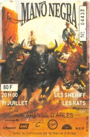 """11 juillet 1990 Les Wampas, Les Rats (?), les Sheriff, Mano Negra à Arles """"le Arenes"""""""