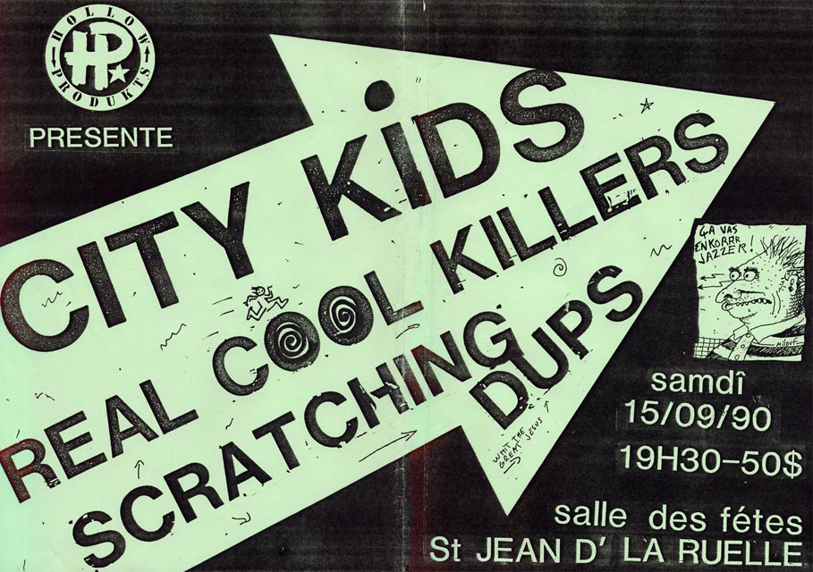 "15 Septembre 1990 Scratching Dups, Real Cool Killers, City Kids à Saint Jean de la Ruelle ""Salle des Fêtes"""