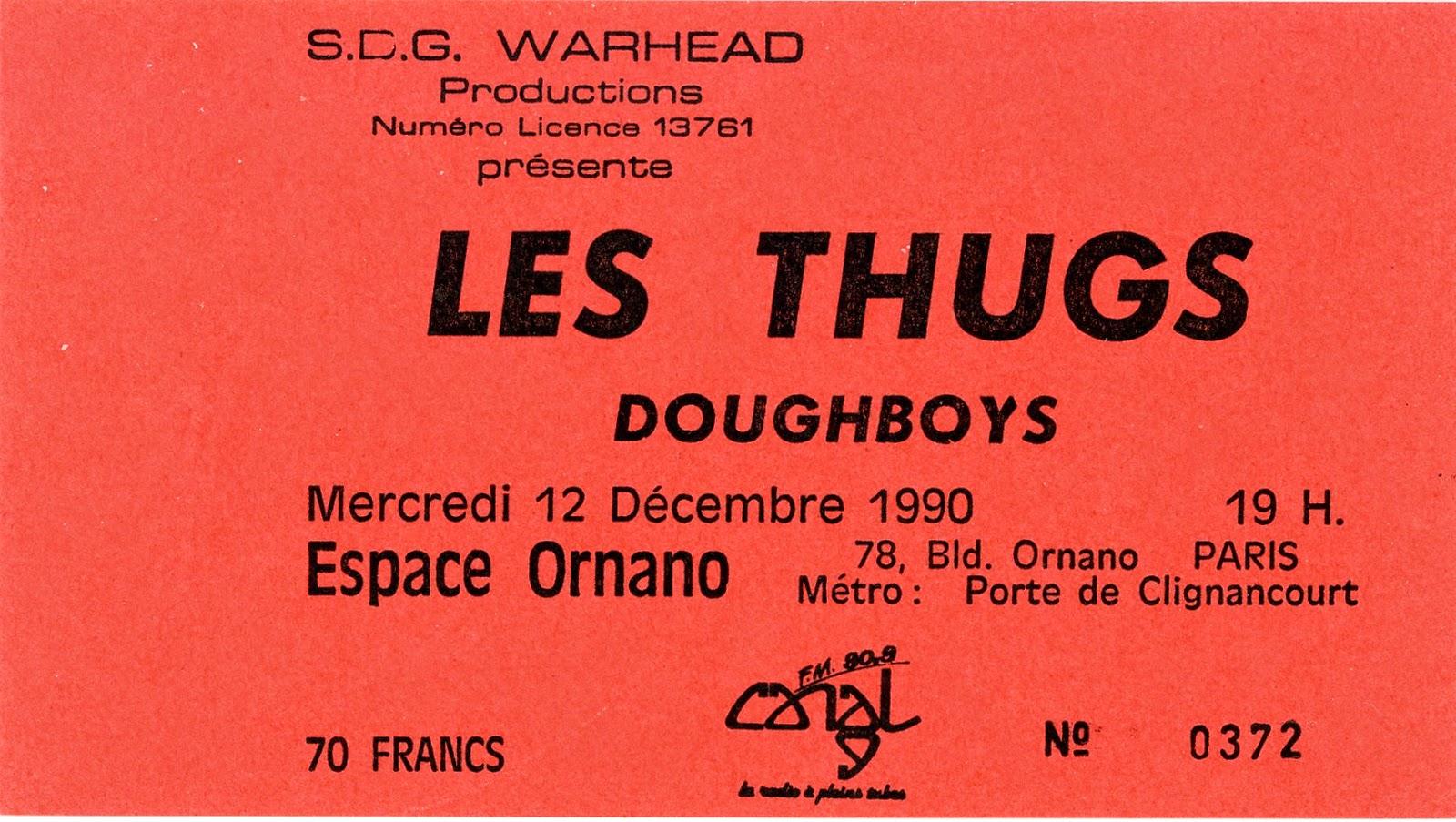 """12 decembre 1990 Doughboys, Les Thugs à Paris """"Espace Ornano"""""""