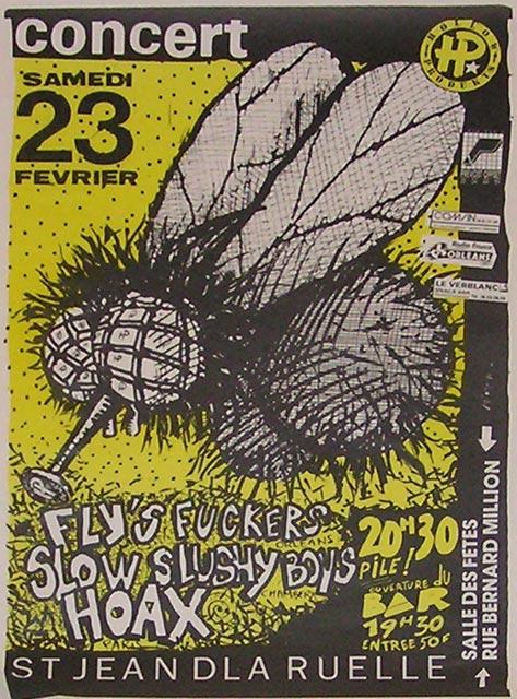 """23 février 1991 Fly's Fuckers, Slow Slushy Boys, Hoax à Saint Jean de la Ruelle """"Salle des Fetes"""""""