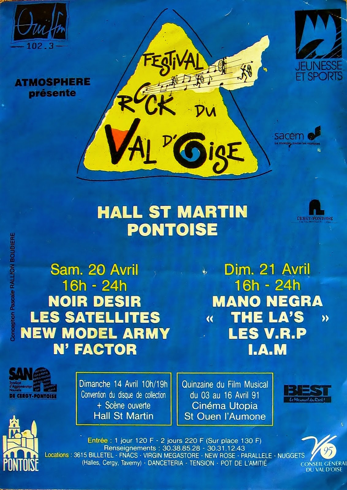 "20 Avril 1991 New Model Army, Les Satellittes, N'Factor, Noir Desir à Pontoise ""Hall St-Martin"""