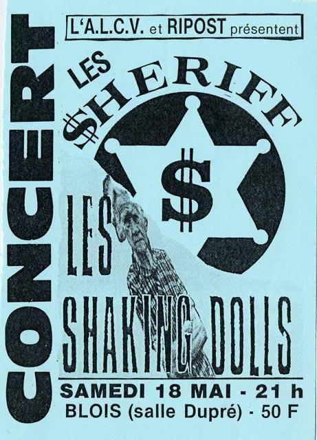 """18 mai 1991 Cave Sessions, Shaking Dolls, Les Sheriff à Vienne """"Salle Dupré"""""""