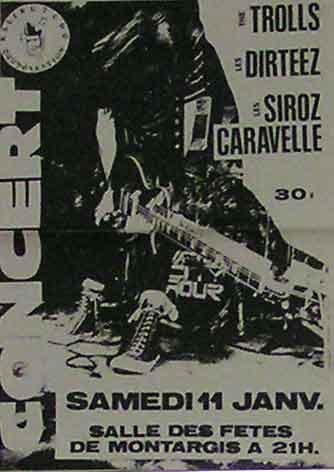 """11 janvier 1992 Siroz Caravelle, les Trolls, Thompson Rollets à Montargis """"Salle des Fêtes"""""""