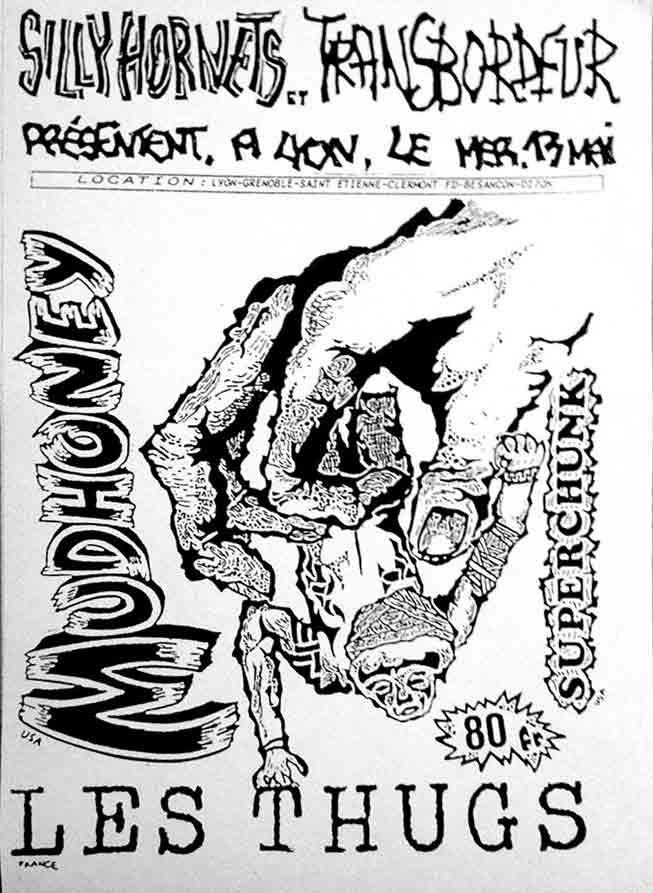 "13 mai 1992 Les Thugs, Mudhonney, Superchunk à Villeurbanne ""Transbordeur"""