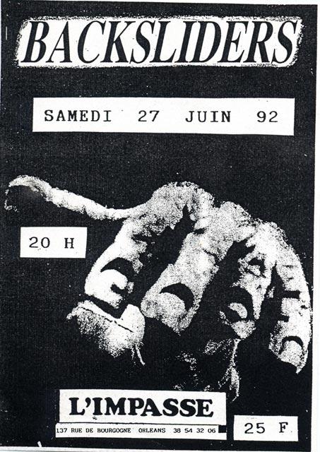 """27 juin 1992 Backsliders à Orléans """"l'impasse"""""""