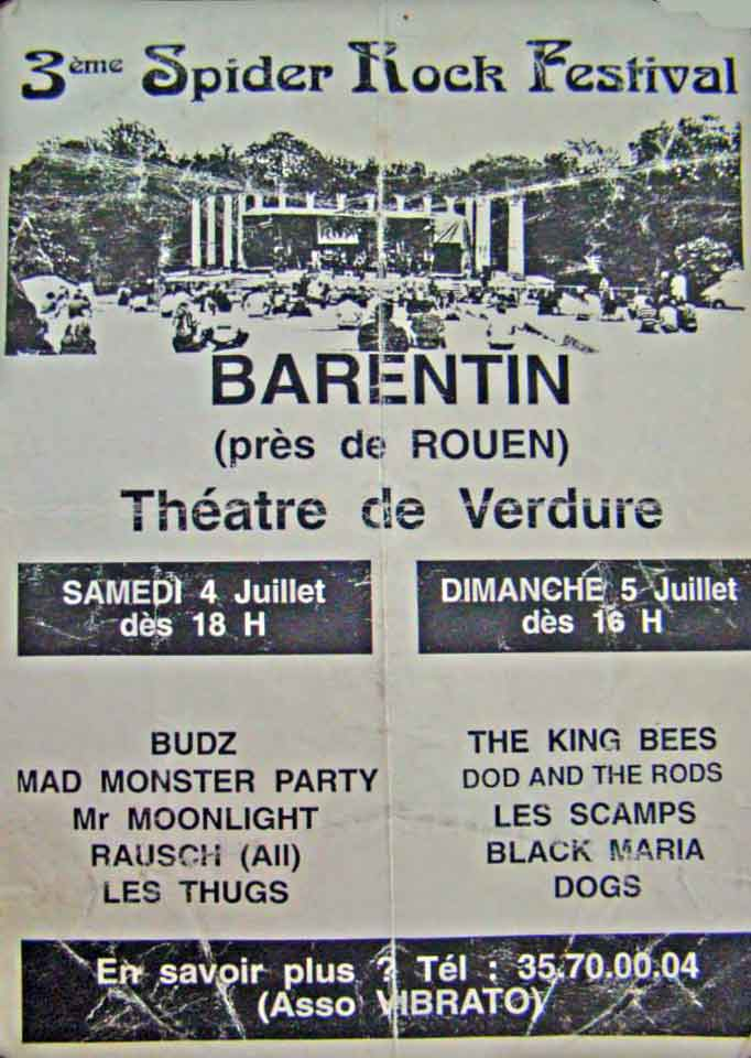 "5 juillet 1992 The King Bees, Dod And The Rods, Les Scamps, Black Maris, Dogs à Barentin ""Théatre de verdure"""