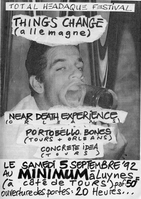 "5 septembre 1992 Concrete idea, Portobello Bones, Near Death Expérience, Things Change à Luynes ""Minimum"""