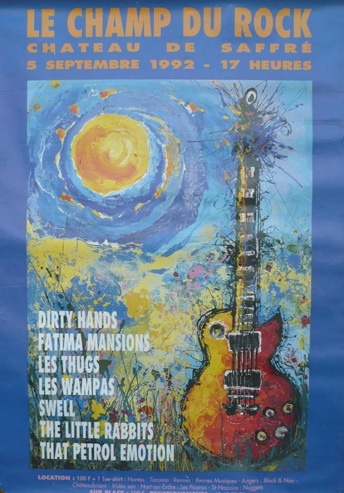 """5 septembre 1992 Dirty Hands, Fatima Mansions, Thugs, Wampas, Swell, Little Rabbits, That Petrol Emotion à Saffré """"Chateau"""""""
