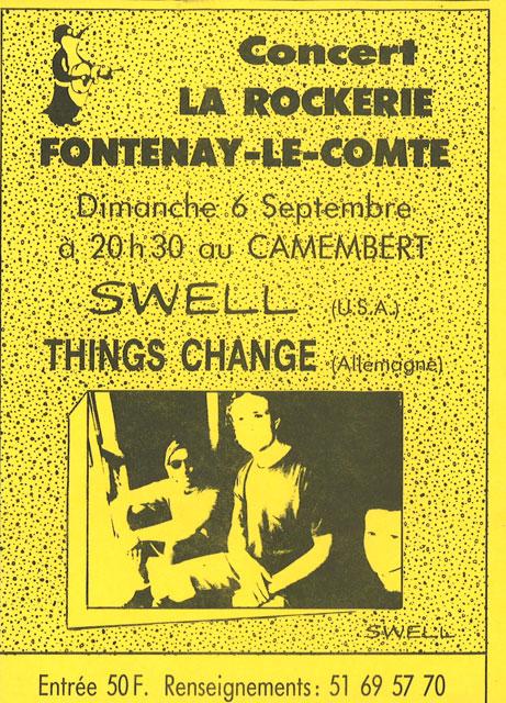 "6 septembre 1992 Things Change, swell à Fontenay le Comte ""Au Camembert"""