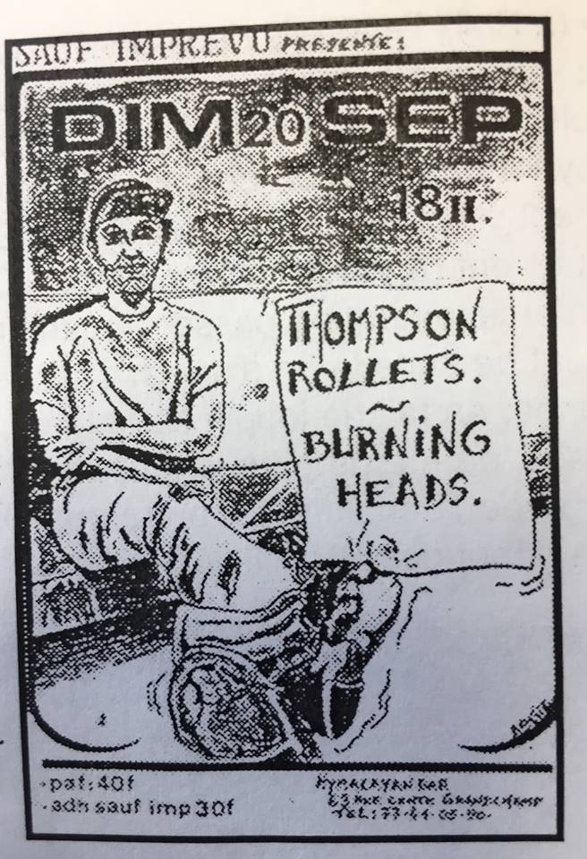 "20 septembre 1992 Thompson Rollets, Burning Heads à Saint Etienne ""L'Hymalayan Bar"""