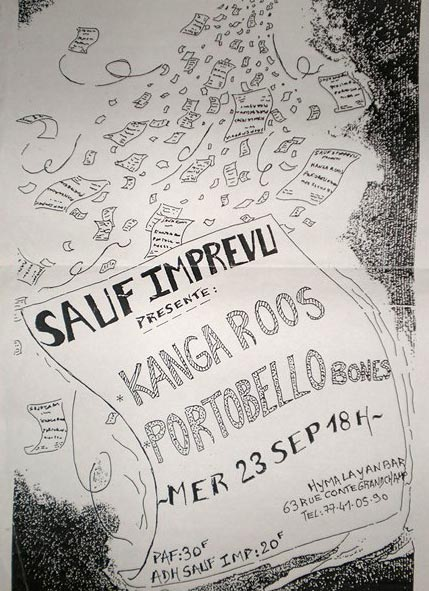 "23 septembre 1992 Kanga Roos, Portobello Bones à Saint Etienne ""Hymalayan Bar"""