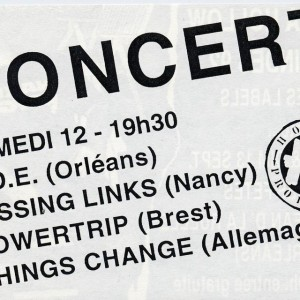 "12 septembre 1992 Good Old boyz, Near Death Expérience, Missing Links, Powertrip, Things Change à Saint Jean de la Ruelle ""Salle des Fêtes"""