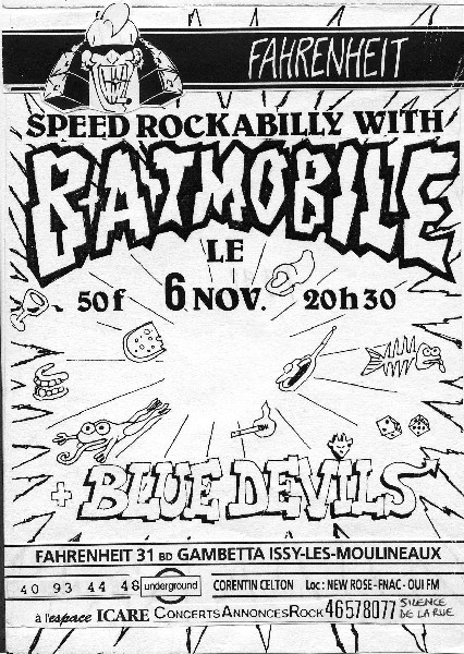 """6 novembre 1992 Batmobile, Blue Devils à Issy Les Moulineaux """"le Farenheit"""""""