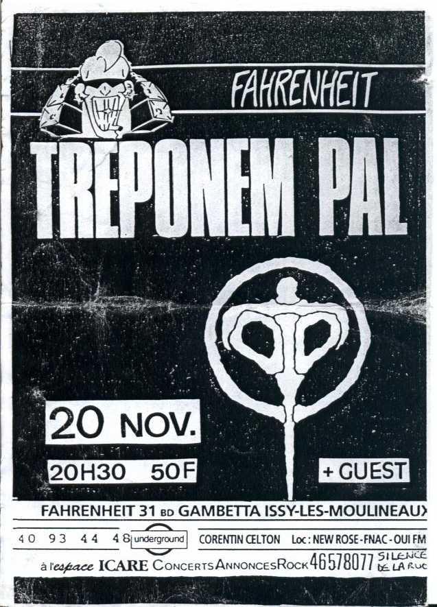 """20 novembre 1992 Treponem Pal, Cut The Navel String à Issy les Moulineaux """"le Farenheit"""""""