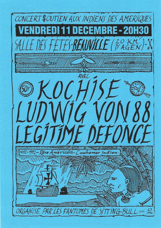 """11 decembre 1992 Kochise, Ludwig Von 88, Legitime Defonce à Beauville """"Salle des Fetes"""""""