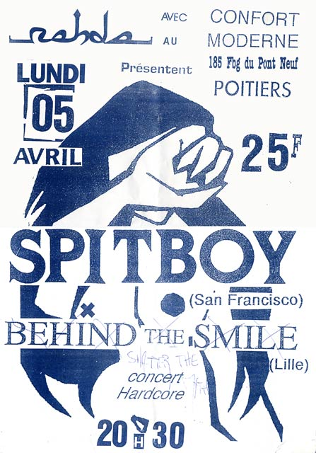 """5 avril 1993 Shatter the Myth, Spitboy à Poitiers """"le Confort Moderne"""""""