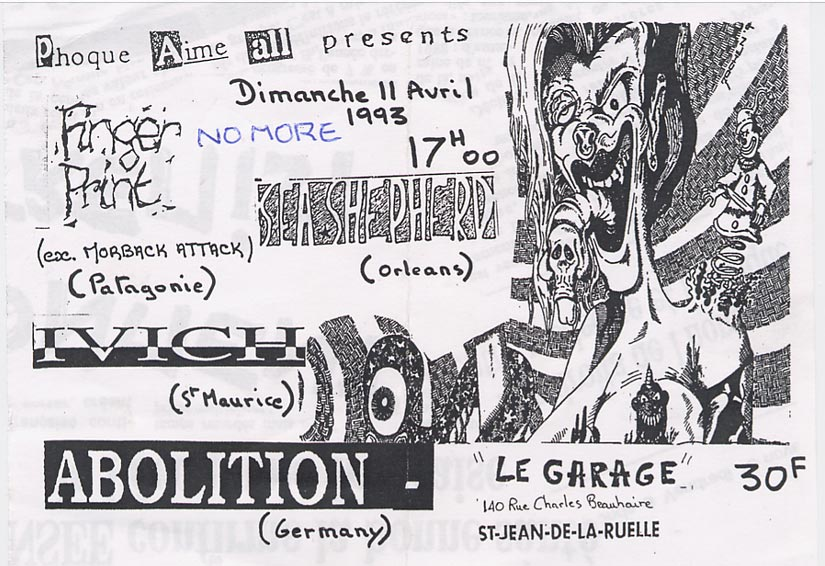 "11 avril 1993 Sea Shepherd, Ivich, Finger Print, No More, Abolition à Saint Jean de la Ruelle ""le Garage"""
