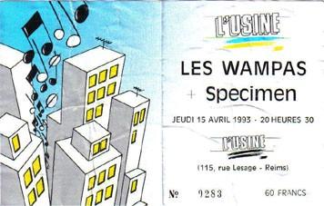 """15 avril 1993 Les Wampas, Specimen à Reims """"L'usine"""""""