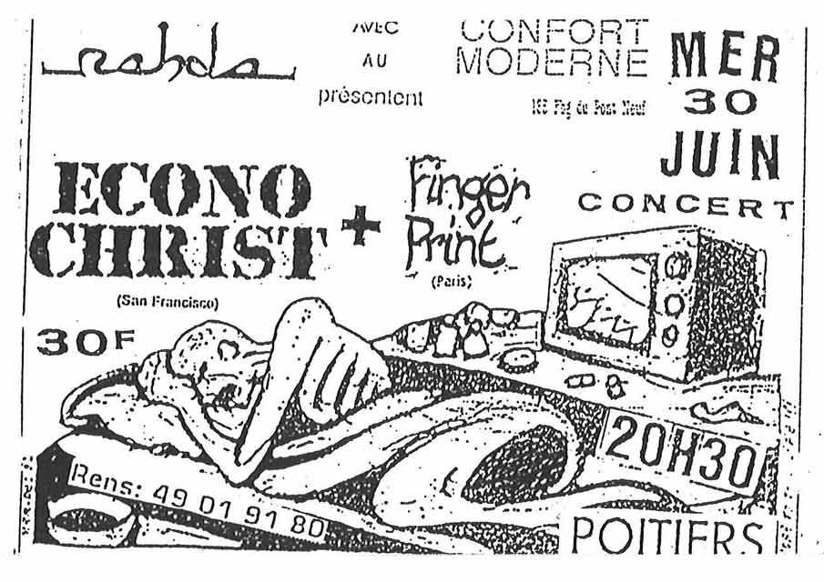 """30 juin 1993 Finger Print, Econochrist à Poitiers """"Le Confort Moderne"""""""