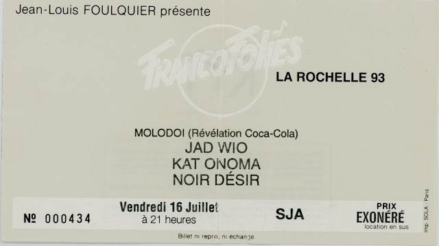16 juillet 1993 Molodoi, Jad Wio, Kat Onoma, Noir Desir à La Rochelle