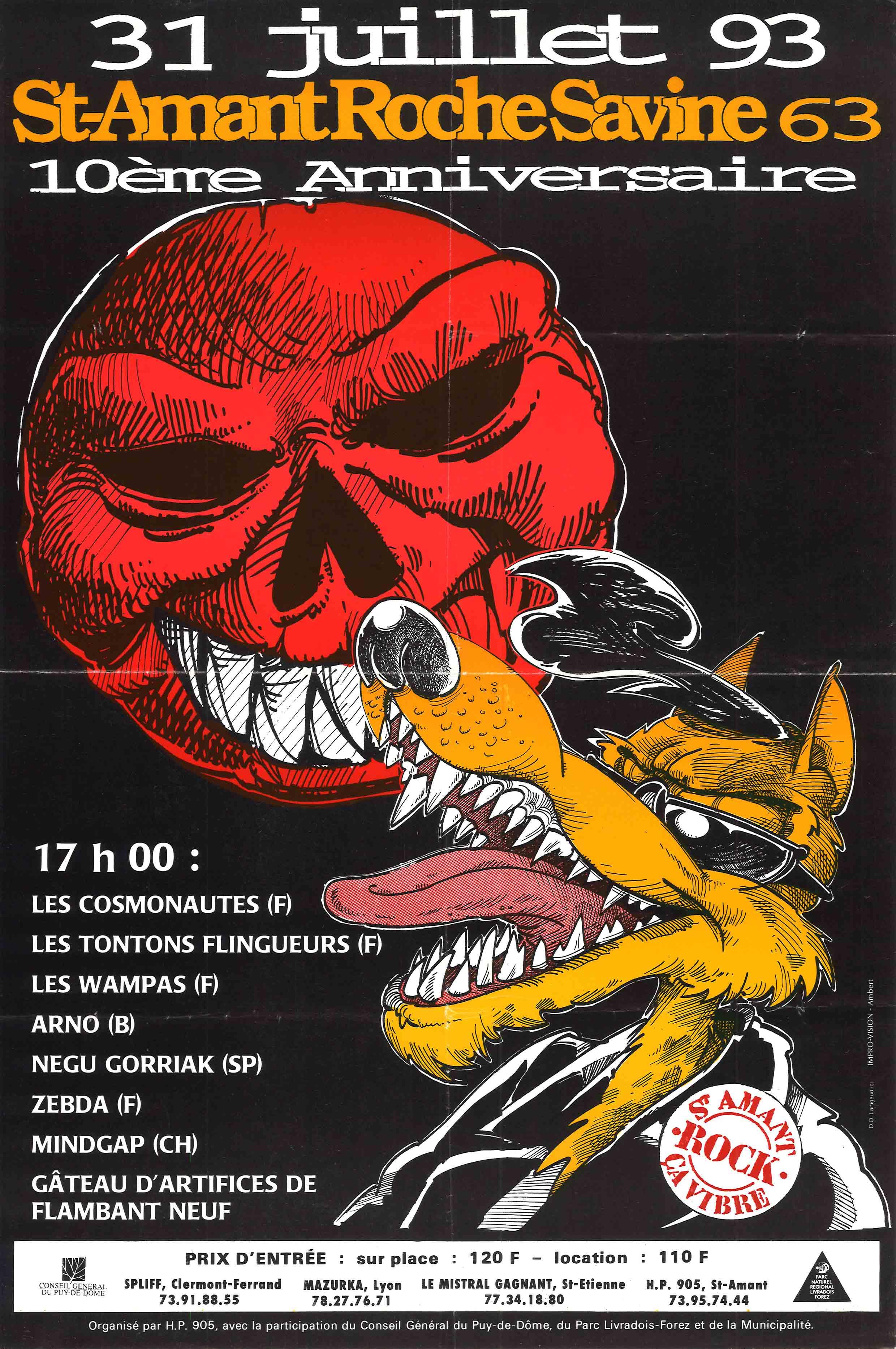31 juillet 1993 Les Cosmonautes, Les Tontons Flingueurs, Les Wampas, Arno, Negu Gorriak, Zebda, Mindgap à Saint Amand Roche Savine
