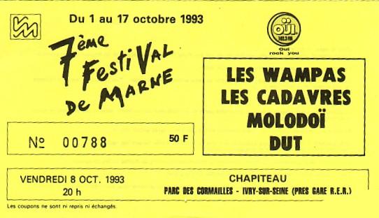 """8 Octobre 1993 DUT, Molodoi, les Cadavres, les Wampas à Ivry Sur Seine """"Parc des Cormailles"""""""