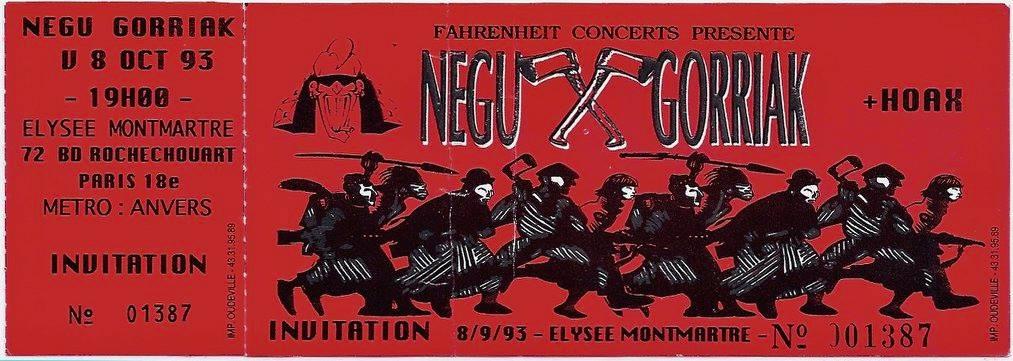 "8 octobre 1993 Negu Gorriak, Hoax à Paris ""Elysée Montmartre"""
