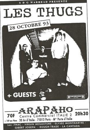 """28 octobre 1993 Prohibition, les Thugs à Paris """"Arapaho"""""""