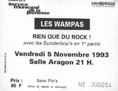 """5 Novembre 1993 Sunderboy's, les Wampas à Saint Dizier """"Salle Aragon"""""""