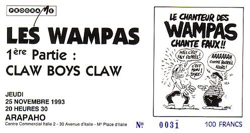 """25 novembre 1993 Claw Boys Claw, les Wampas à Paris """"Arapaho"""""""