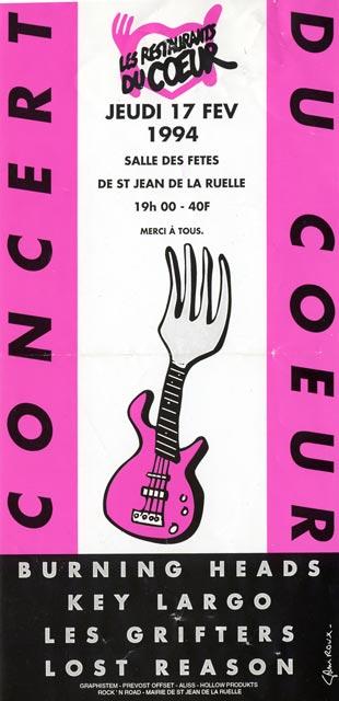 """17 février 1994 Cosmetik Sucks, les Grifters, Key Largo, Burning Heads à Saint Jean de la Ruelle """"Salle des Fêtes"""""""