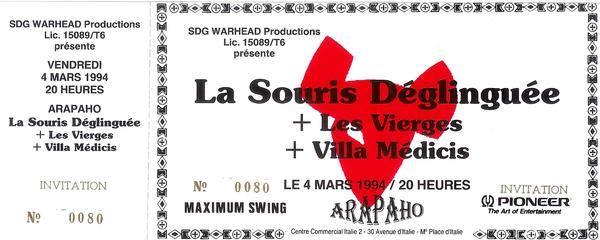 """4 mars 1994 La Souris Deglinguée, les Vierges, Villa Medicis à Paris """"Arapaho"""""""