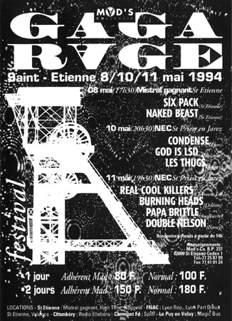 "8 mai 1994 Six Pack, Naked Beast à Saint Etienne ""Mistral Gagnant"""