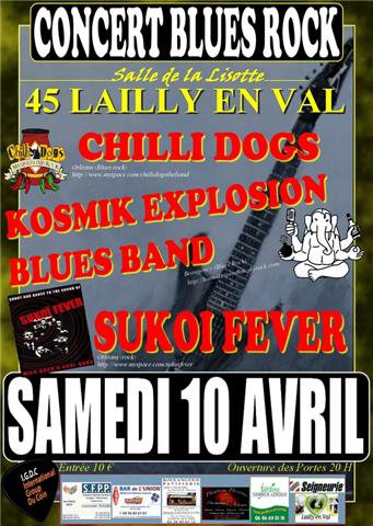 "10 avril 2010 Chillidogs, Kosmik Explosion Blues Band, Sukoi Fever à Lailly En Val ""Salle de la Lisette"""