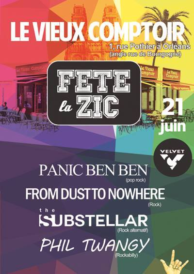 21 juin 2015 Bad Sheeps, Brigitte Bop, PK La Vie, Strong Come Ons, Panic Ben Ben, From Dust To Nowhere, Substellar, Phil Twangy & Long Tom à Orléans