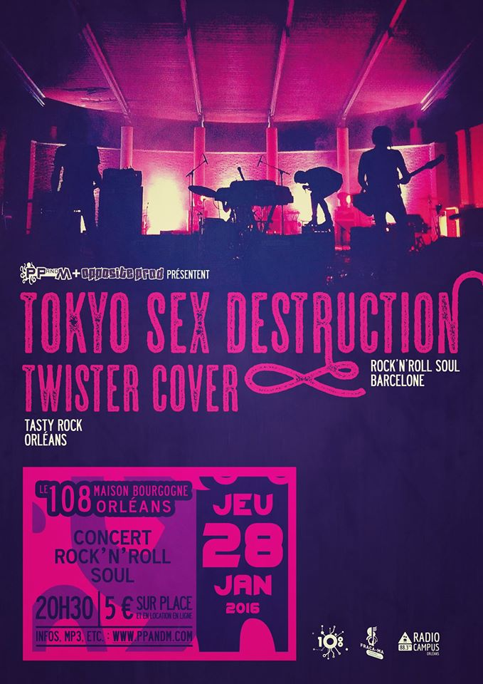 "28 janvier 2016 Twister Cover, Tokyo Sex Destruction à Orléans ""le 108"""