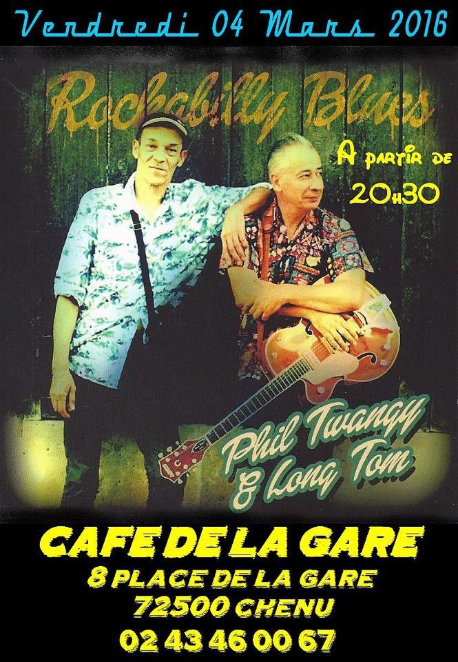 """4 mars 2016 Phil Twangy & Long Tom à Chenu """"Café de la Gare"""""""