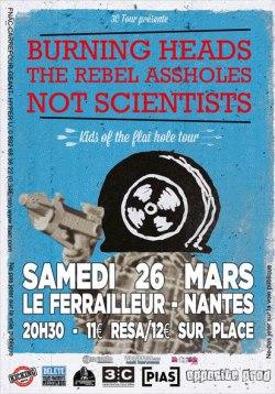 """26 mars 2016 Heavy Heart, The Rebel Assholes, Burning Heads à Nantes """"Le Ferrailleur"""""""